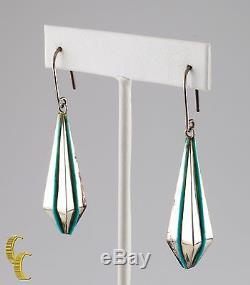 Native American. 925 Sterling Silver & Turquoise Pendant Dangle Earrings