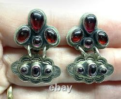 Native American Don Lucas Stamped Sterling Silver Garnet Cab Cluster Earrings