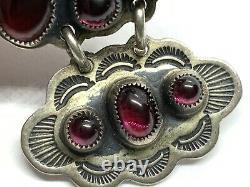 Native American Don Lucas Stamped Sterling Silver Garnet Cab Cluster Earrings