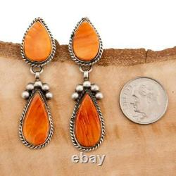 Native American Earrings Sterling Silver Fiery Sunset Orange Spiny Oyster