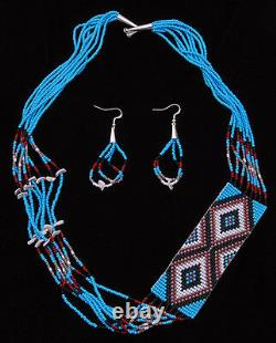 Native American Handmade Beaded Necklace with Earrings