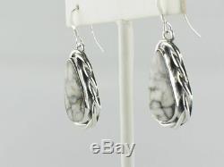 Native American Handmade Sterling Silver White Buffalo Dangle Earrings