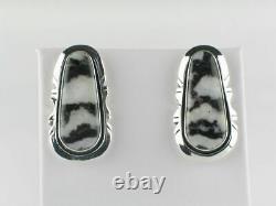 Native American Handmade Sterling Silver White Buffalo Post Earrings