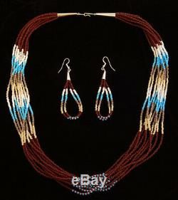 Native American Indian Jewelry Handmade 10 Strand Bead Necklace with Earrings