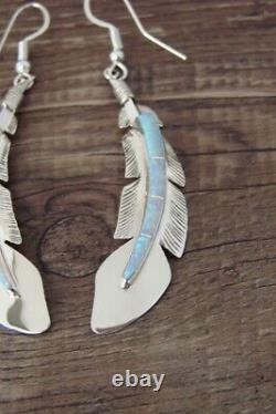 Native American Indian Jewelry Sterling Silver Opal Feather Earrings