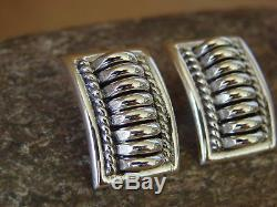 Native American Indian Jewelry Sterling Silver Ribbed Earrings by Thomas Charley