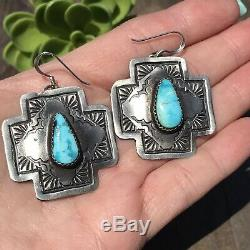 Native American Indian Sterling Silver Turquoise Cross Dangle Earrings