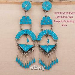 Native American Jewelry LOT Vintage DISHTA Squash Blossom Earrings Necklace RING