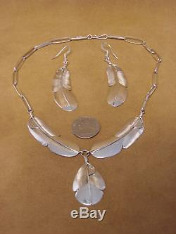 Native American Jewelry Sterling Silver Feather Necklace & Earring Set by C