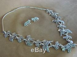 Native American Jewelry Sterling Silver Storyteller Wolf Necklace and Earring Se