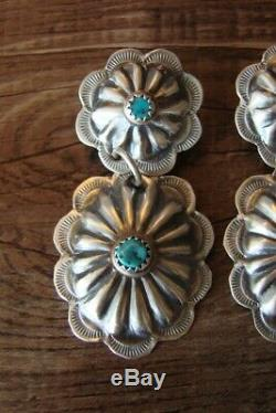 Native American Jewelry Sterling Silver Turquoise Concho Post Earrings