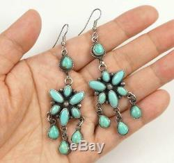 Native American Large Sterling Silver Green Turquoise Cluster Statement Earrings