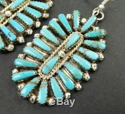 Native American Large Sterling Silver Turquoise Cluster Oval Statement Earrings