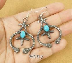 Native American Navajo Billah Antique Sterling Silver Turquoise Naja Earrings