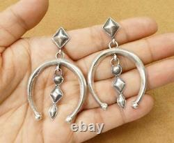 Native American Navajo Hand Cast Sterling Silver Large Naja Statement Earrings