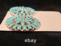 Native American Navajo Handmade (Faux)Turquoise Sterling Silver Cluster earrings