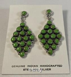 Native American Navajo Handmade Gaspeite Cluster Sterling Silver Post Earrings
