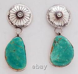 Native American Navajo Handmade Sterling Silver with Kingman Turquoise Earrings