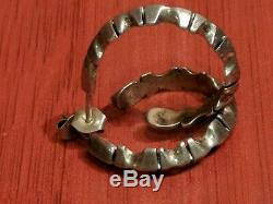 Native American Navajo Indian JERRY N. PLATERO Sterling Silver Hoop Earrings