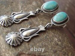 Native American Navajo Indian Sterling Silver Turquoise Post Earrings by Spencer