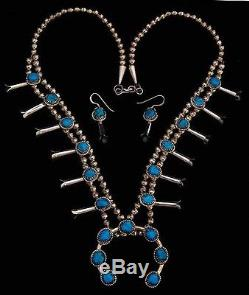 Native American Navajo Mini Squash Blossom Necklace with Earrings