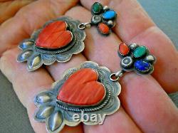 Native American Navajo Multi-Stone Sterling Silver Heart Repousse Post Earrings