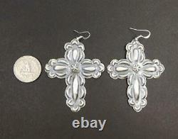 Native American Navajo Old Style Sterling Silver Large Cross Earrings Tim Yazzie