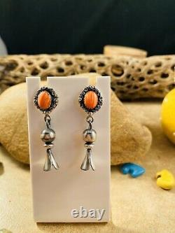 Native American Navajo Spiny Oyster And Sterling Silver Dangle Earrings