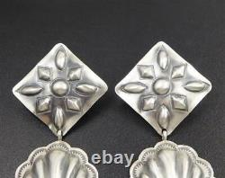Native American Navajo Stamped Sterling Silver Large Concho Statement Earrings