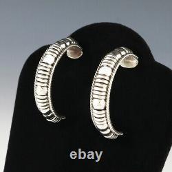 Native American Navajo Sterling Silver Hoop Earrings By Thomas Charley