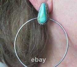 Native American Navajo Turquoise Sterling Silver Hoop Dangle Post Earrings