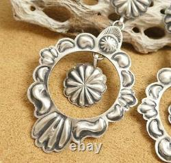Native American Old Style Stamped Sterling Silver Concho Statement Boho Earrings