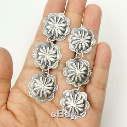 Native American Old Style Sterling Silver Linked Flower Concho Long Earrings