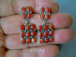 Native American Rectangular Coral Clusters Sterling Silver Post Earrings