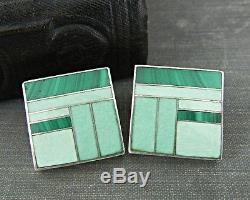 Native American Signed Tracey Knifewing Green Inlaid Square Sterling Earrings