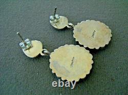 Native American Spiny Oyster & Multi-Stone Cluster Sterling Silver Post Earrings