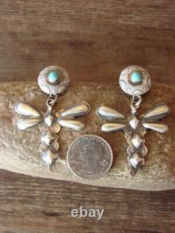 Native American Sterling Silver Dragonfly Post Earrings Tim Yazzie