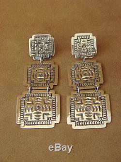 Native American Sterling Silver Hand Stamped Earrings by Harold Joe
