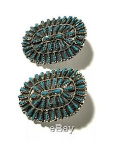 Native American Sterling Silver Handmade Turquoise Navajo Cluster Earring