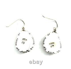 Native American Sterling Silver Navajo Boulder Turquoise Dangle Earring