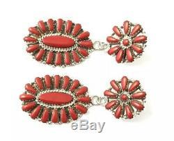 Native American Sterling Silver Navajo Cluster Coral Dangle Earrings