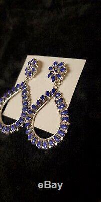 Native American Sterling Silver Navajo Handmade Blue Lapis Cluster Earrings