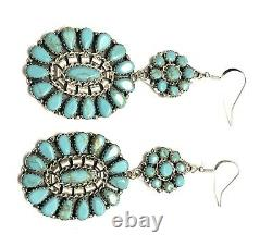 Native American Sterling Silver Navajo Handmade Cluster Turquoise Dangle Earring