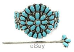 Native American Sterling Silver Navajo Handmade Cluster Turquoise Hair Barrette