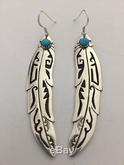 Native American Sterling Silver Navajo Handmade Feather Earring By Tommy Singer
