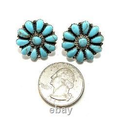Native American Sterling Silver Navajo Handmade Turquoise Cluster Post Earrings