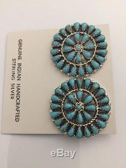 Native American Sterling Silver Navajo Handmade Turquoise Cluster Post Earrings