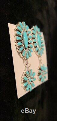 Native American Sterling Silver Navajo Handmade Turquoise Cluster earrings