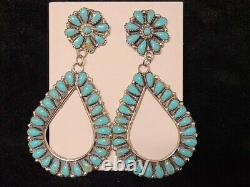 Native American Sterling Silver Navajo Handmade Turquoise Cluster earrings faux