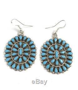 Native American Sterling Silver Navajo Handmade Turquoise Dangle ClusterEarrings